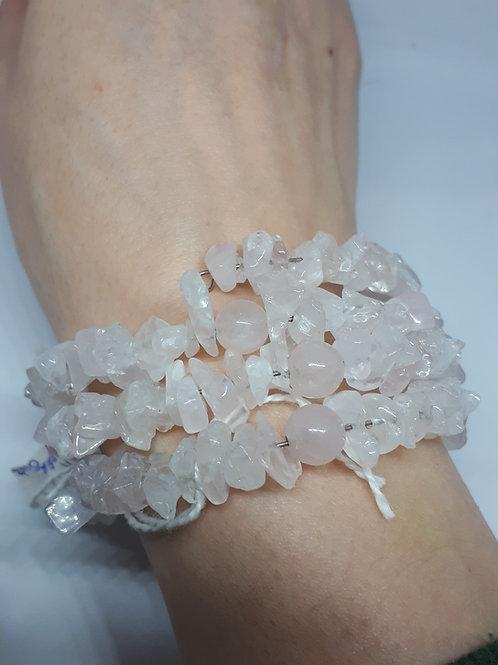 Rose quartz memory wire bracelet