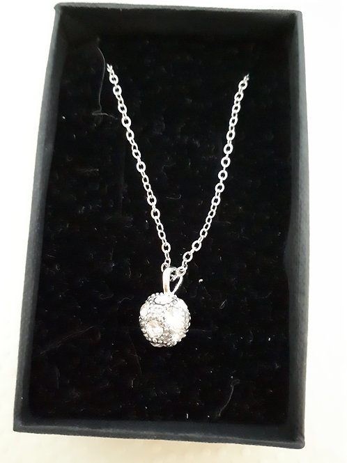 Silver-plated Crystal ball Necklace
