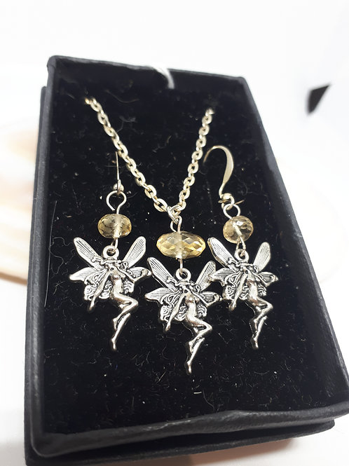 "Silver-plated Fairy Necklace and Earring set - 20"" chain"