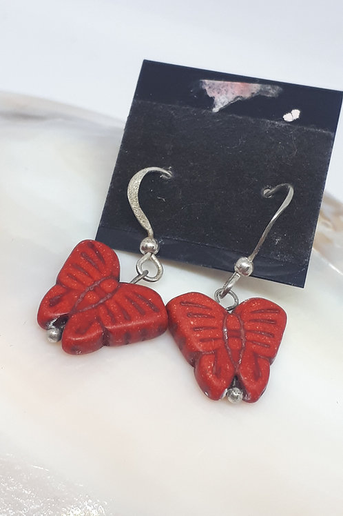 Silver plated howlite butterfly earrings