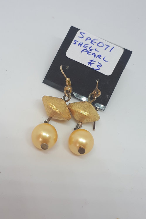 Gold plated yellow shell pearl earrings
