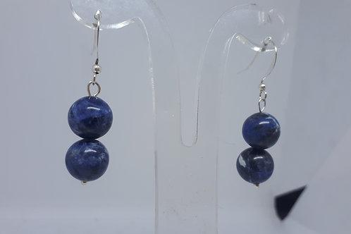 Silver plated sodalite earrings