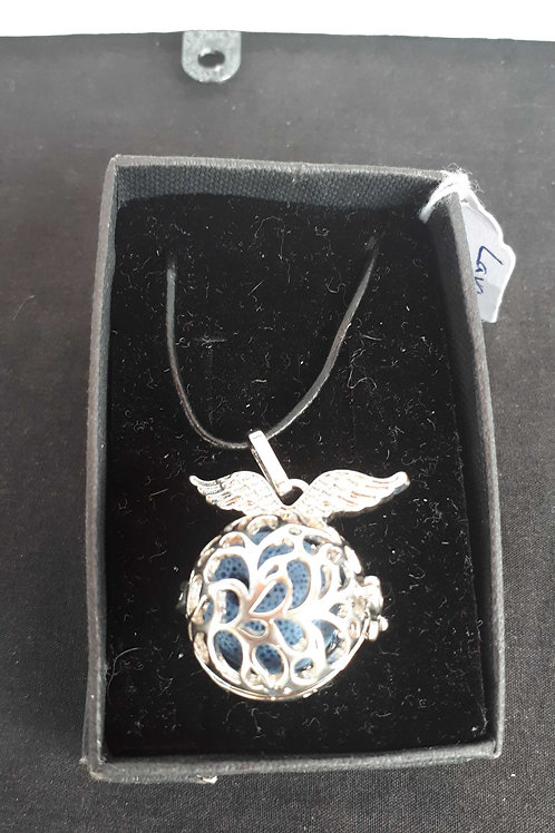 Winged ball lava rock pendant necklace