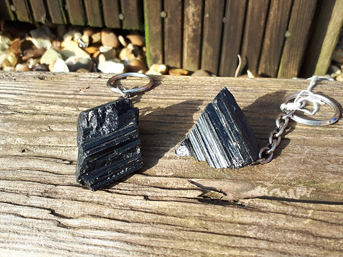 Natural Black tourmaline keyring