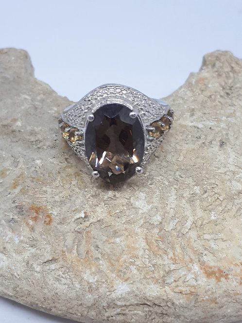 Silver plated smokey quartz and yellow crystal ring - uk size K
