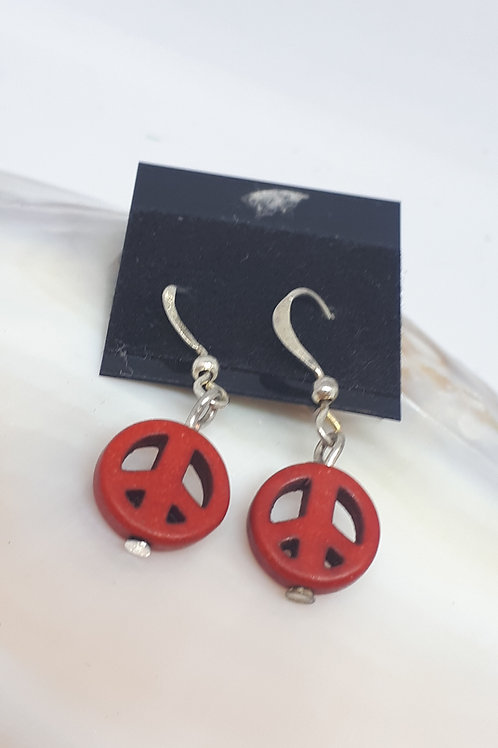 Silver plated dyed howlite peace earrings