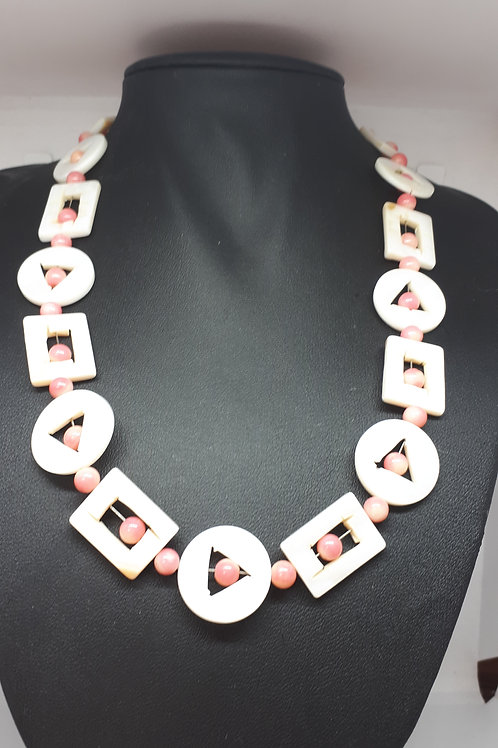 Silver plated geometric shell necklace