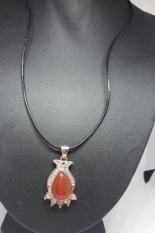 Leatherette cord teardrop silver plated red agate necklace