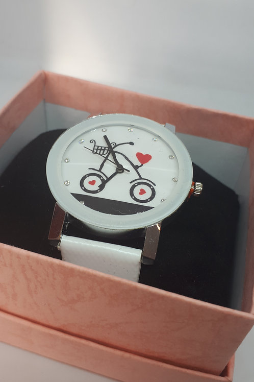 Ladies white bike watch