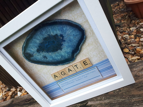 Blue agate framed picture