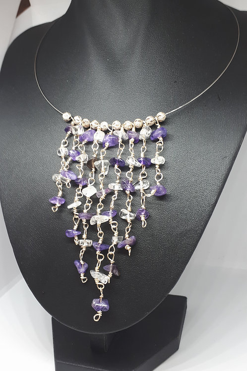 Silver plated memory wire waterfall amethyst and quartz necklace