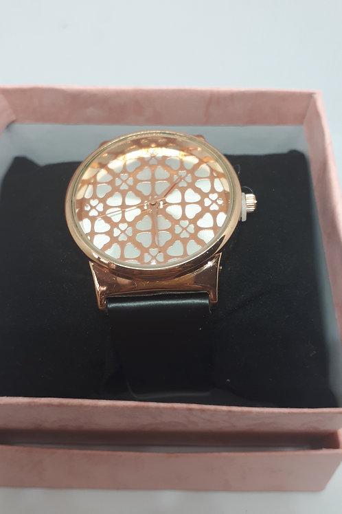 Ladies floral pattern rose gold tone watch