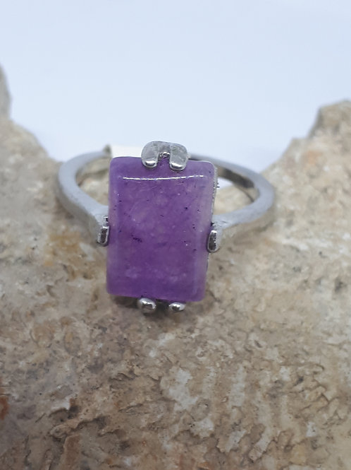 Silver plated amethyst rectangle ring - uk ring size T