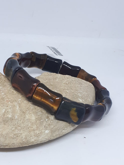 Multi tigers eye bamboo stretchable bracelet