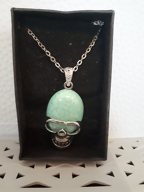 Silver-Plated Blue Howlite Skull pendant necklace