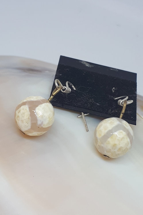 Silver plated yellow agate earrings