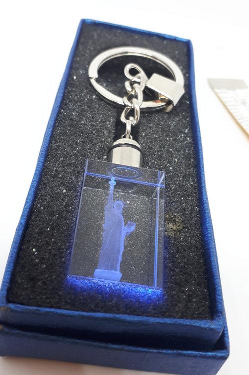 Colour change glass etched keyring