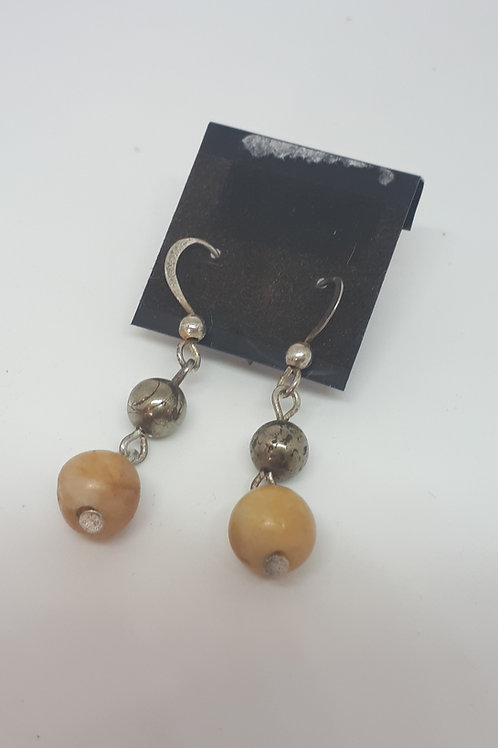Silver plated yellow jasper and pyrite earrings