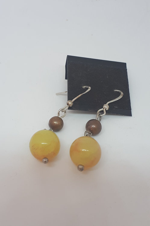 Silver plated yellow dyed quartzite earrings