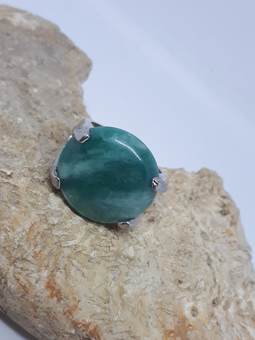 Silver plated green agate ring - Uk ring size O