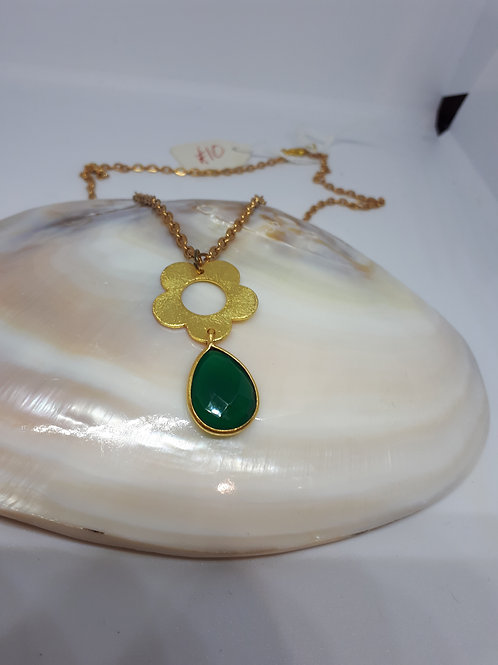 Gold plated green onyx teardrop pendant necklace