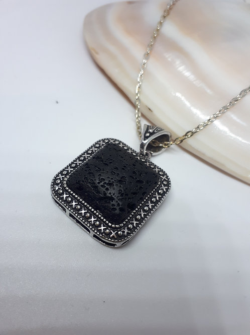 Lava rock pendant necklace