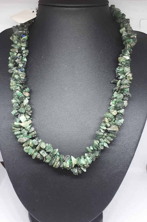 Silver plated emerald twisted necklace
