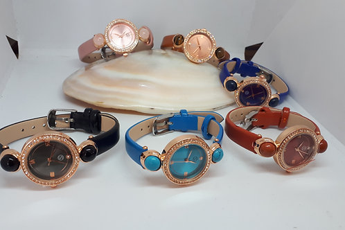 Rose gold tone austrian crystal gemstone watch