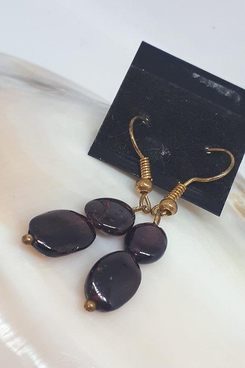 Gold plated garnet nugget earrings