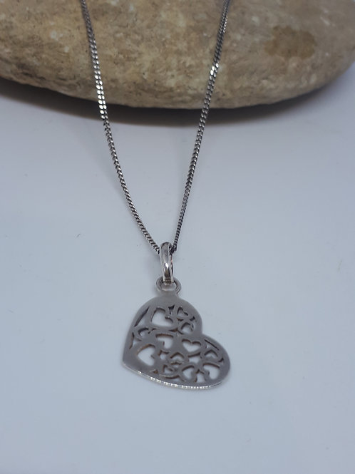 Sterling silver hearts within a heart necklace
