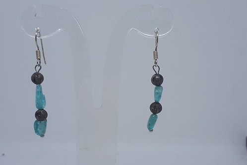 Silver plated apatite nugget earrings