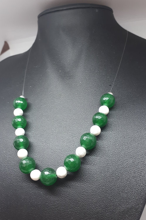 Silver plated green quartz and howlite necklace