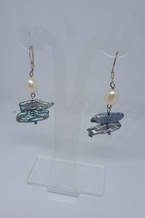 Silver plated pearl and keshi pearl earrings