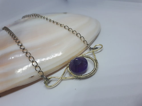 Silver-Plated Wirework Faceted Amethyst Pendant