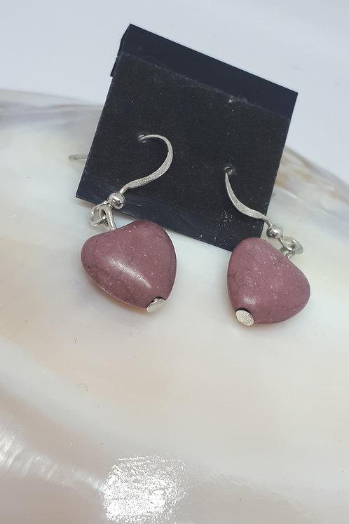 Silver plated dark pink heart howlite earrings