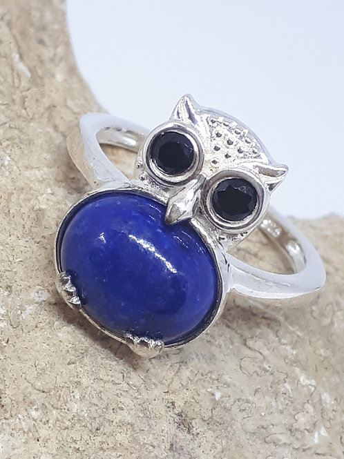 Sterling silver Lapis lazuli and Boi Ploi black spinel owl ring