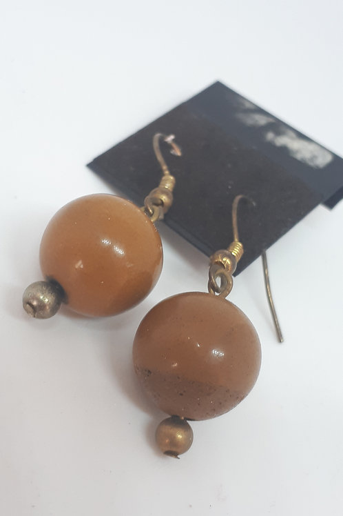 Antique bronze brown jasper earrings