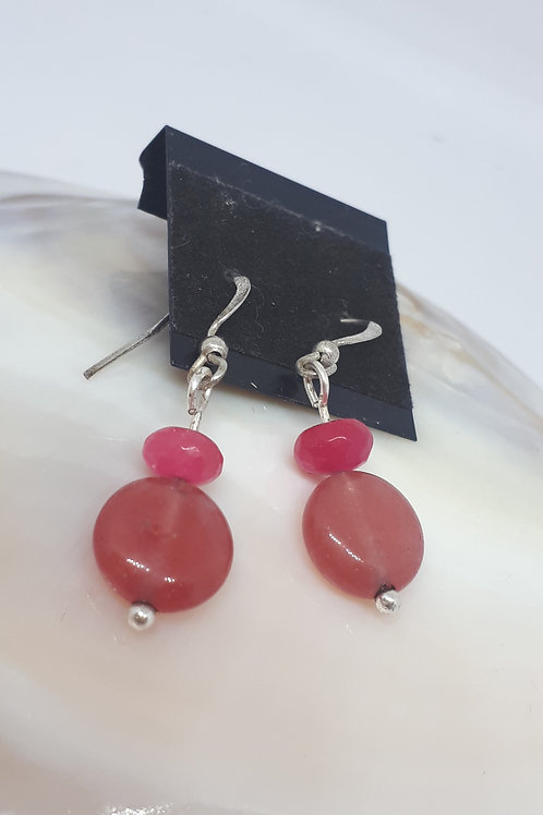 Silver plated pink quartzite earrings