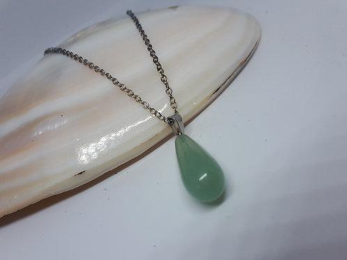 "Gemstone teardrop necklace - 16"""