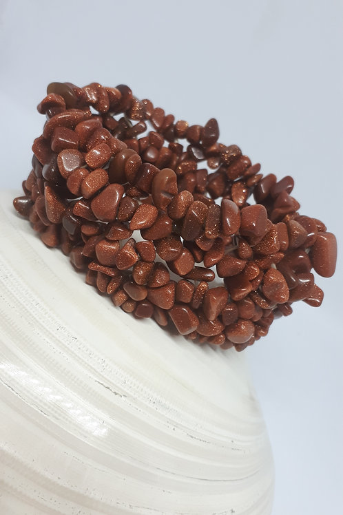 Goldstone stretchy chip bracelet