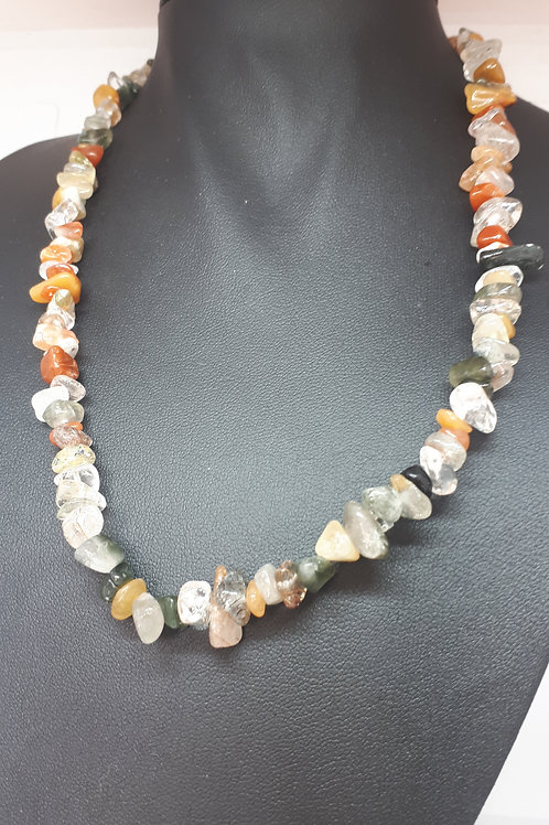 Silver plated gemstone chip necklace