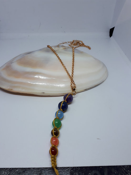 Gold plated chakra macrame pendant necklace