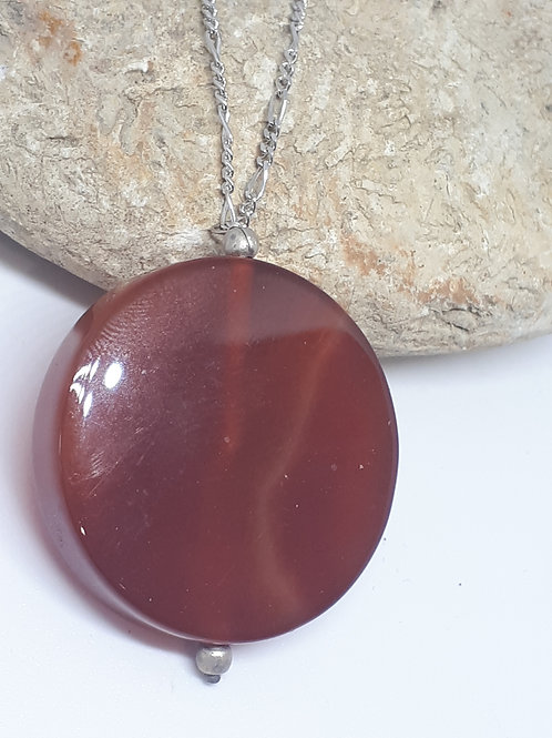 Sterling silver red agate pendant necklace