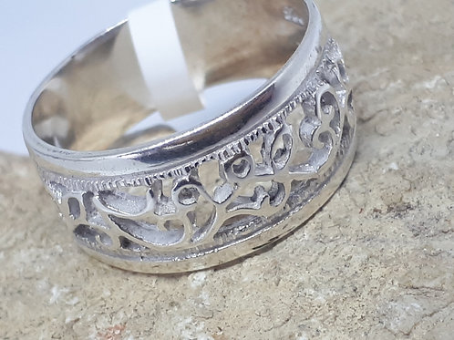 Sterling silver vines band ring - UK size P