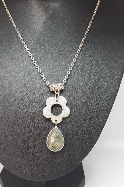 Silver-plated Labradorite Teardrop pendant necklace