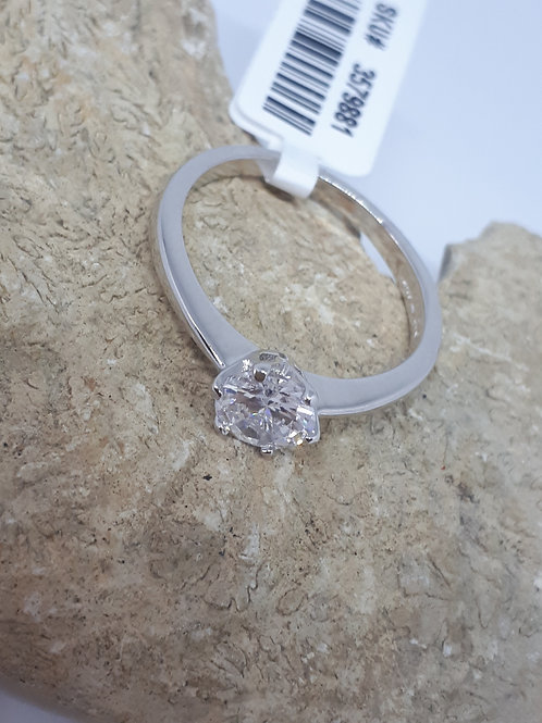 Elanza crystal solitaire ring in Rhodium overlay sterling silver
