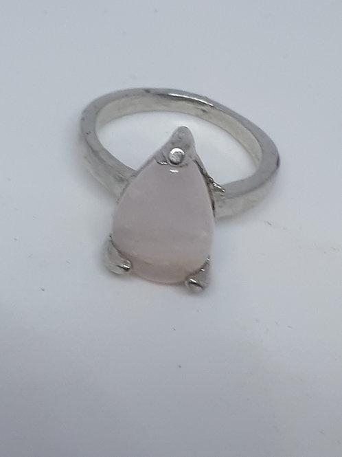 Silver plated rose quartz teardrop ring - UK size J