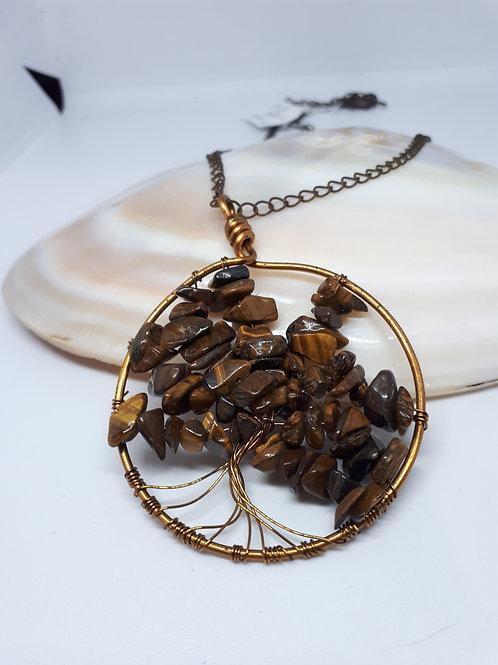 Antique bronze tigers eye tree of life pendant necklace