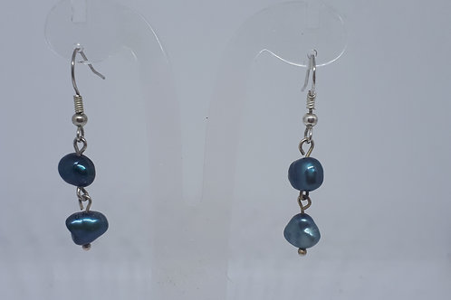 Silver plated blue dyed pearl earrings
