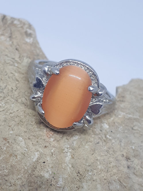 Silver plated cats eye ring - size R